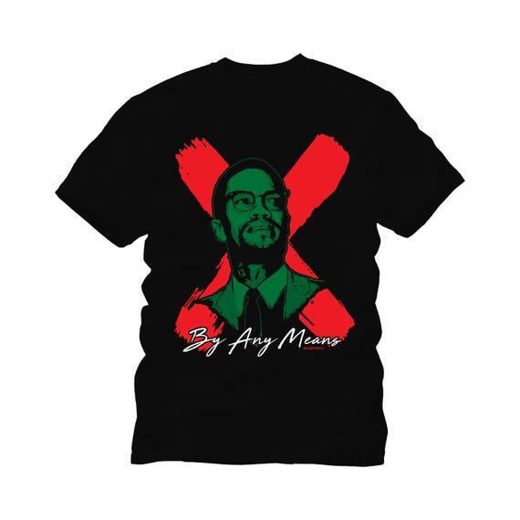 malcolm x flag color tee shirt black history gift black etsy