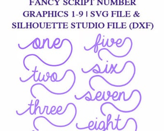 Fancy Script Numbers 1 9 Graphic Files For Cutting Machines