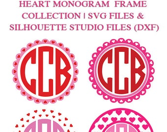 Heart Monogram Frame Collection for Cutting Machines | SVG and Silhouette Studio (DXF)