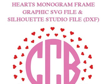 Heart Monogram Frame File for Cutting Machines | SVG and Silhouette Studio (DXF)
