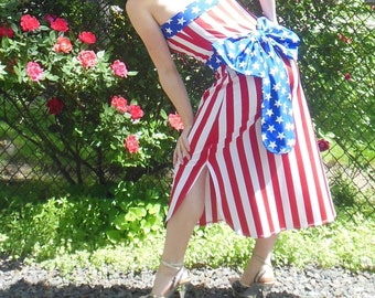 American Flag Dress with Bow #AF007 Original price: 160.00 USD