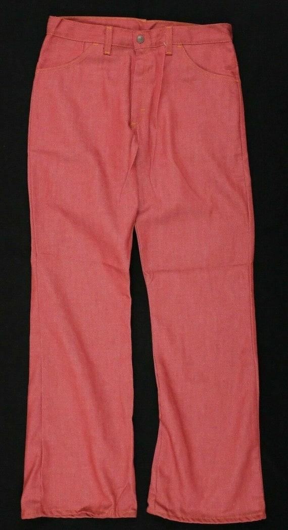 Vtg 1970s red jeans 32x31 bell bottom deadstock no