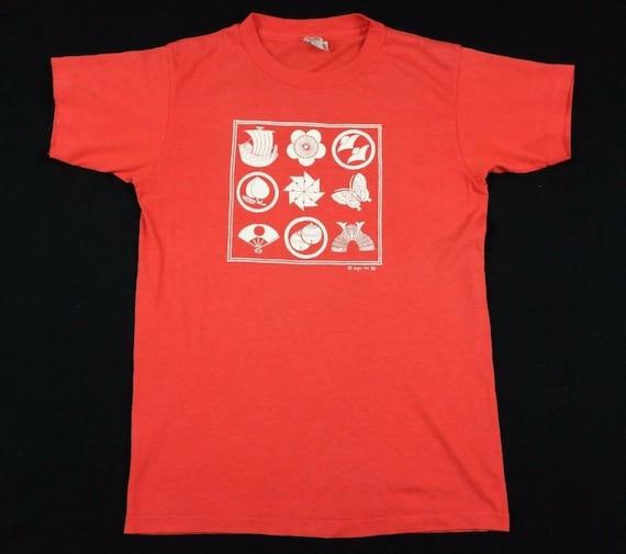 Vtg 1980 aya ko japanese pictograms t-shirt youth