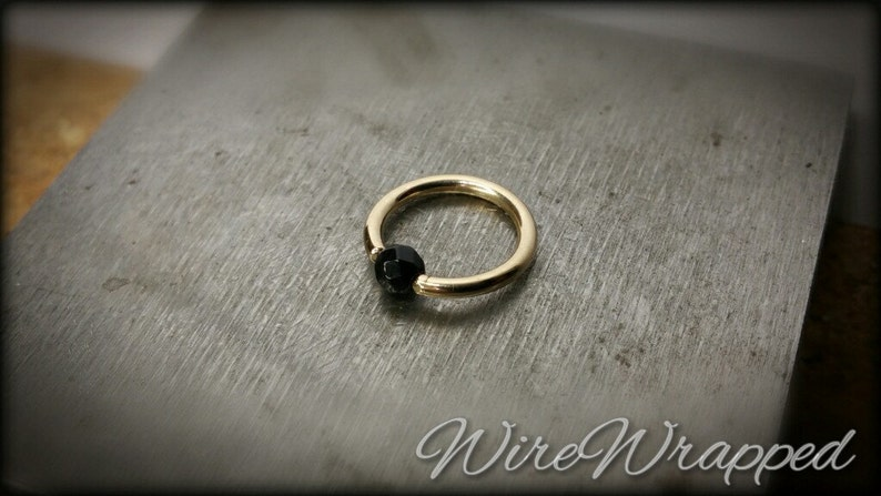 Captive Bead Black Obsidian Navel Belly Ring Septum Hoop 14 gauge Gold //Silver