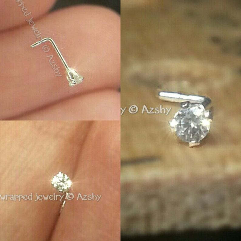 5c8ffe4ad Nose Ring Stud Post made with 2mm Swarovski Crystal Sterling   Etsy