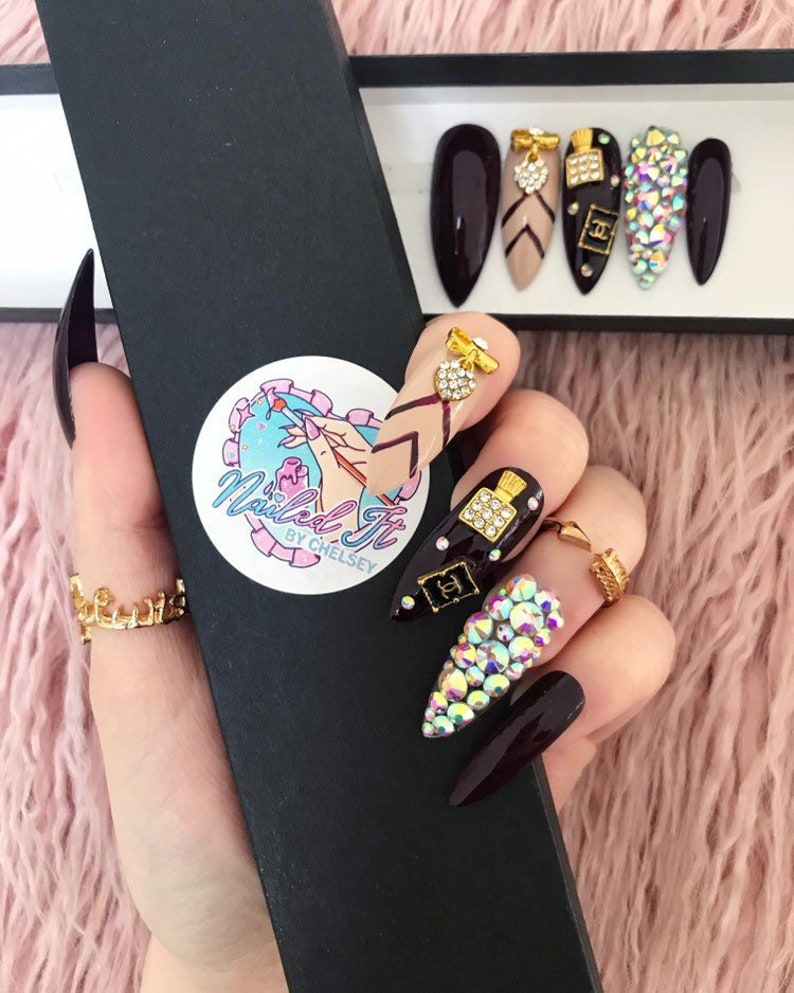 Nailed It Hand Painted False Nails Designer Crystal Dark Etsy