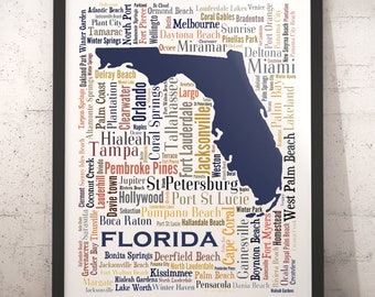 Florida City Map.Florida Map Art Florida Art Print Florida City Map Florida Etsy