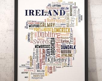 Map Of Ireland Poster.Ireland Map Etsy