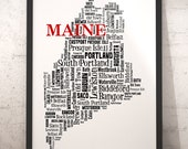 Maine Map Art, Maine Art Print, Maine State Map, Maine Typography Art, Maine Wall Decor, Maine Moving Gift