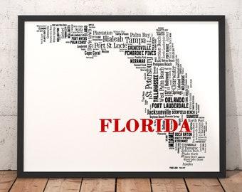 City Map Of Florida.Florida Typography Etsy