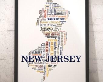 New Jersey Map Art New Jersey Art Print New Jersey City Map Etsy