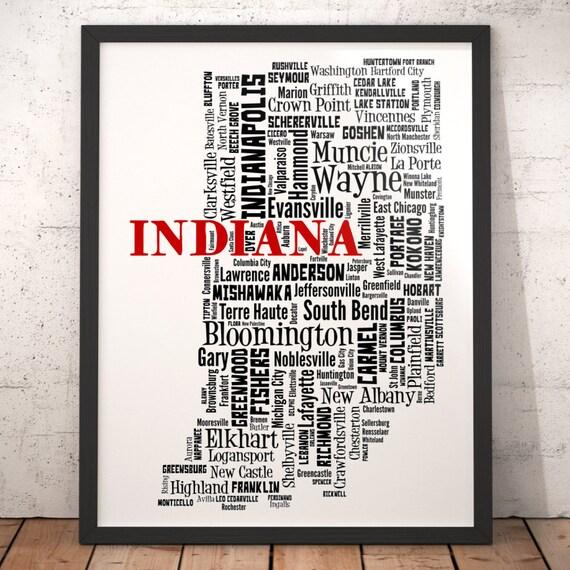 Hartford City Indiana Map.Indiana Map Art Indiana Art Print Indiana City Map Indiana Etsy