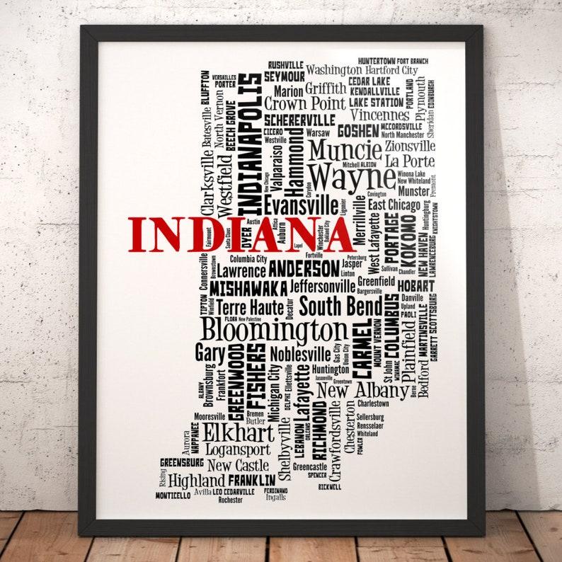 Indiana Map Art Indiana Art Print Indiana City Map Indiana Etsy