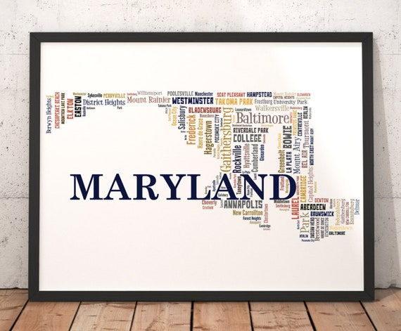 Maryland Map Art, Maryland Art Print, Maryland State Map, Maryland Typography Art, Maryland Poster Print, Maryland Word Cloud