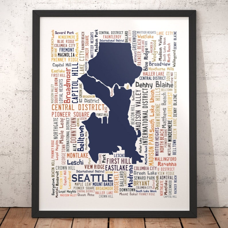 Seattle Typography Map Art Print Seattle Poster Print | Etsy
