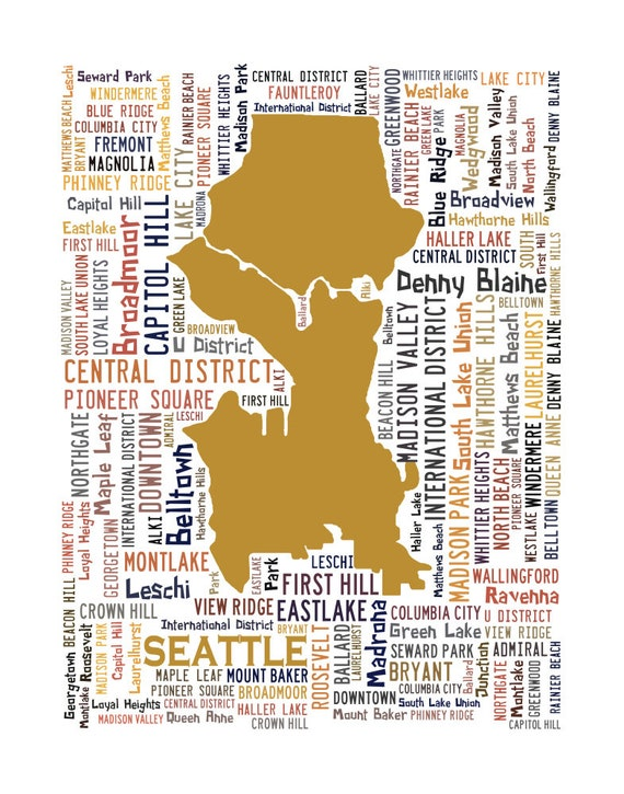Georgetown Seattle Map.Seattle Typography Map Art Print Seattle Poster Print Etsy