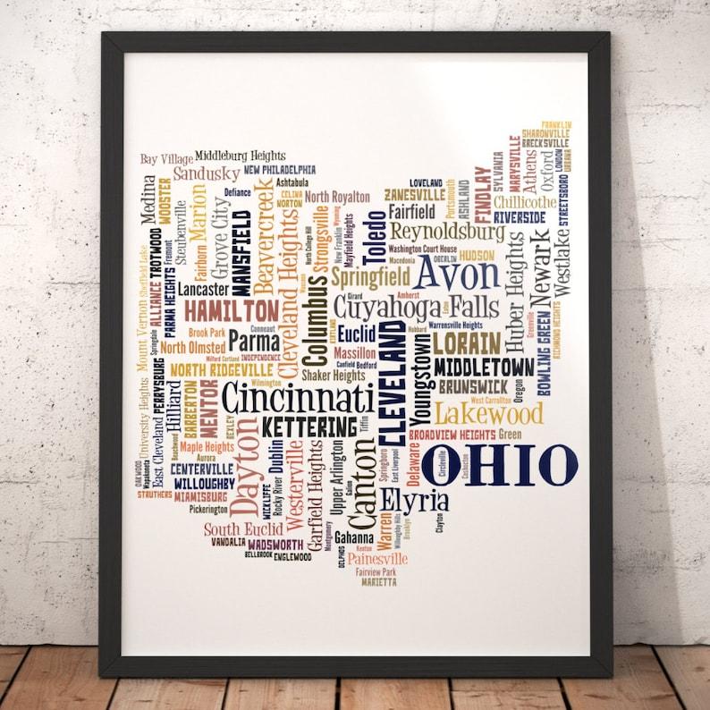 Ohio Map Art Ohio Art Print Ohio City Map Ohio Typography Etsy