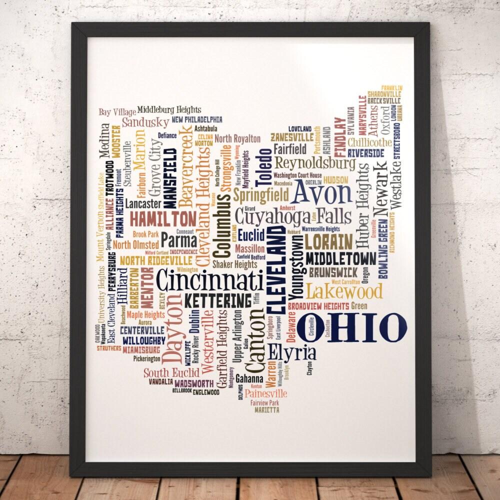 New London Ohio Map.Ohio Map Art Ohio Art Print Ohio City Map Ohio Typography Etsy