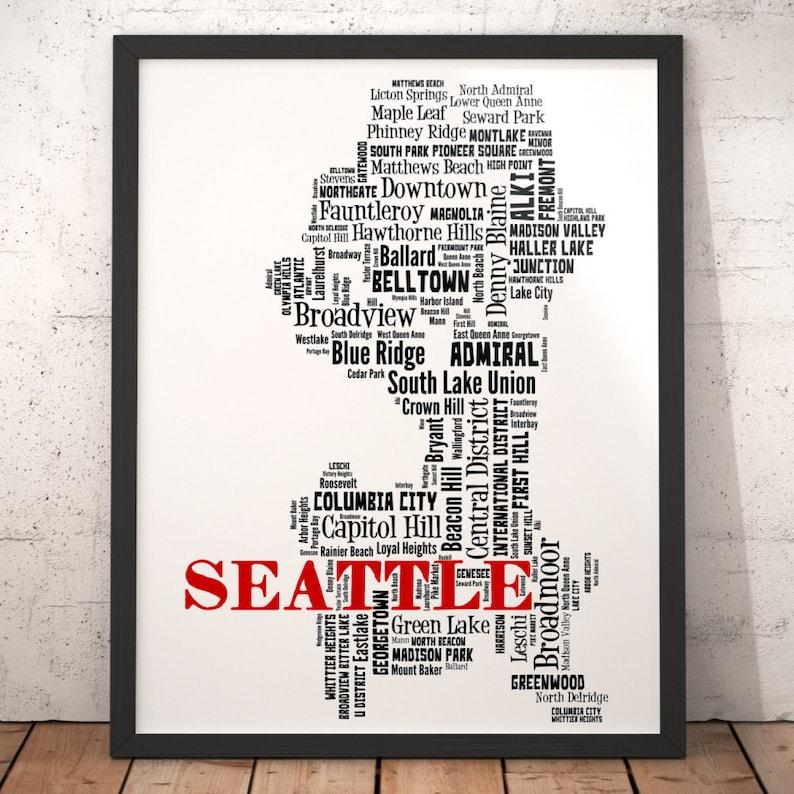 Seattle Map Art Seattle Art Print Seattle Neighborhood Map Etsy