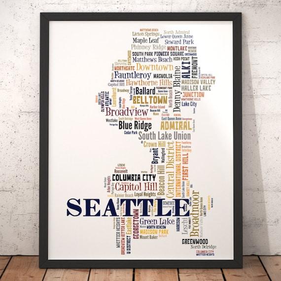 Seattle Art Seattle Art Print Seattle Neighborhood Map   Etsy
