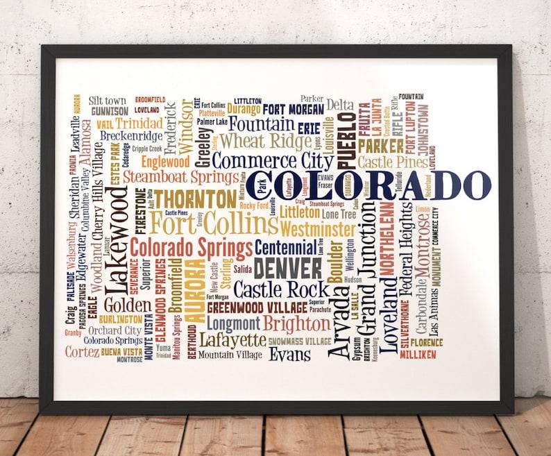 Colorado Map Art.Colorado Map Art Colorado Art Print Colorado City Map Etsy
