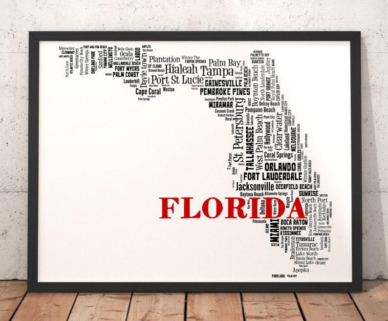 Map Florida City Names.Florida Map Art Florida Art Print Florida State Map Florida Typography Art Florida Wall Decor Florida Moving Gift