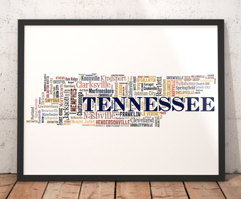 Tennessee Map Art, Tennessee Art Print, Tennessee City Map, Tennessee  Typography Art, Tennessee Poster Print, Tennessee Word Cloud