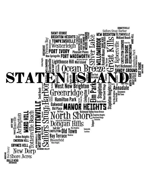 Staten Island Map Art, Staten Island Art Print, Staten Island Neighborhood on map of west brighton staten island, map of fort wadsworth staten island, map of mariners harbor staten island,