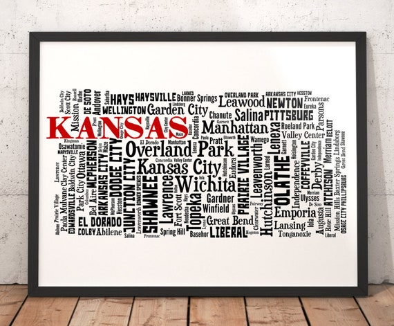 Kansas Map Art Kansas Art Print Kansas City Map Kansas