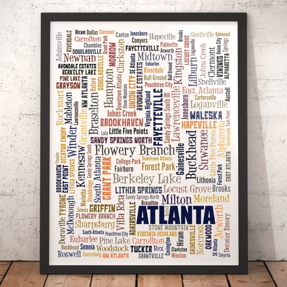 Atlanta art print, Atlanta neighborhood art, Atlanta typography art,  Atlanta decor, Atlanta office art, Atlanta wall art, Atlanta gift