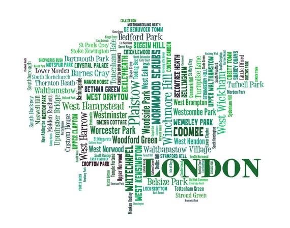 Neighborhood Map London.London Map Art London Art Print London Neighborhood Map London Typography Art London Wall Decor London Moving Gift