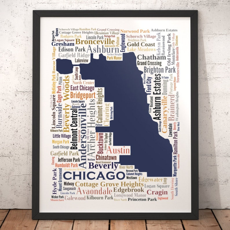 75070413 Chicago Typography Map Art Print Chicago Poster Print | Etsy