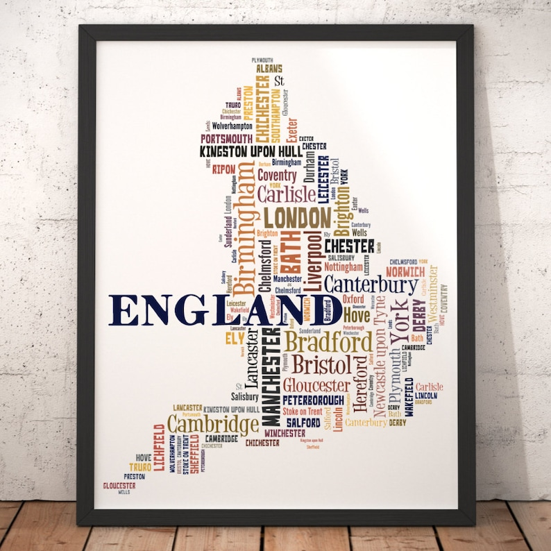 Map Of England Poster.England Map Art England Art Print England City Map England Typography Art England Poster Print England Word Cloud