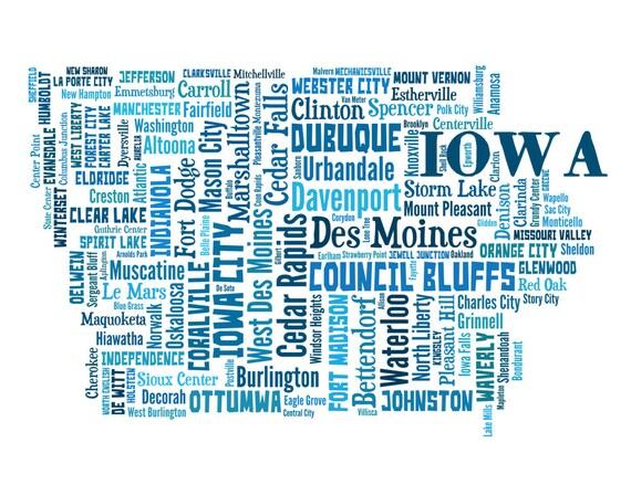 Iowa Map Art, Iowa Art Print, Iowa State Map, Iowa Typography Art, Iowa  Poster Print, Iowa Word Cloud