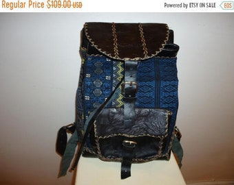 50% OFF A Beautiful Must See!! Tapestry and Leather Knapsack