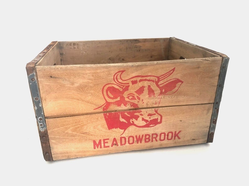 Meadowbrook Farms Wood Milk Crate Vintage Wooden Bottle Crate Bronx New York Dairy Crate Dairy Crate Lnjb1