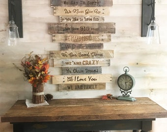 Family Rules Sign Large Wall Decor Farmhouse Country Home Values Rustic Reclaimed Wood Housewarming Gift