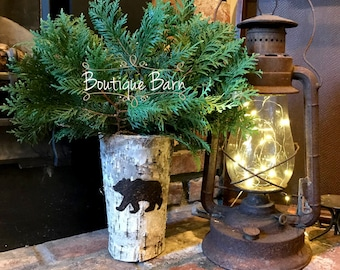 Bear Decor Rustic Birch Vase Silhouette Planter Causal Flower Arrangement Centerpiece Cabin Farmhouse Country Home