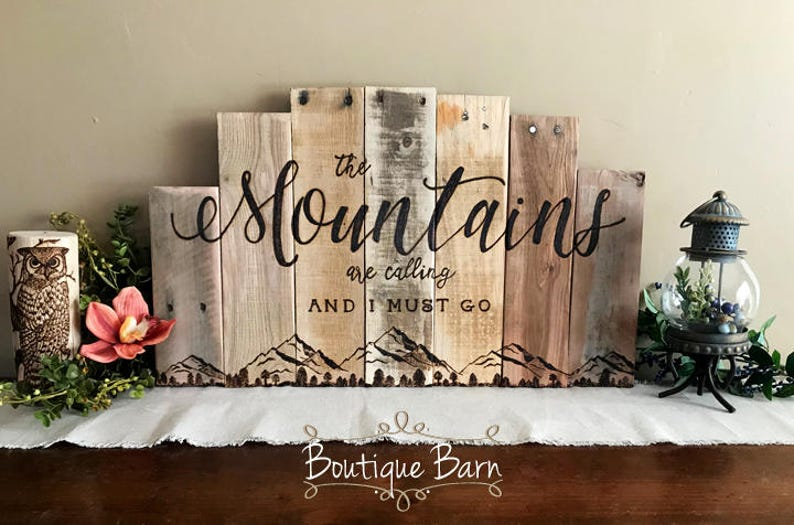 Mountains Are Calling Wood Wall Art Mountain Range Picture Lake Hunting Log Cabin Decor Reclaimed Wood Rustic Rocky Mountains Room Decor