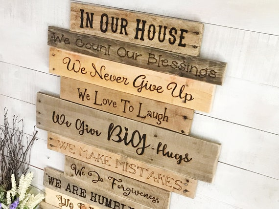 Family Rules Personalized Wood Sign Wall Decor