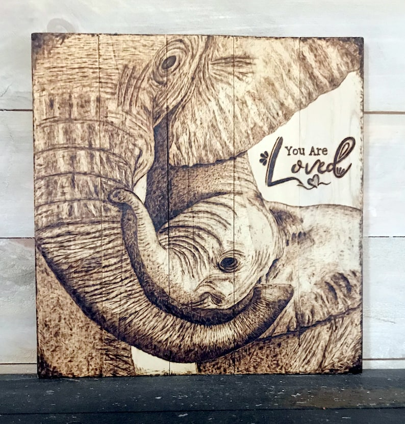 Elephant Wall Art Nursery Decor Baby Shower Gift Rustic Jungle Animal Bedroom Theme