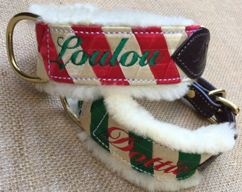 HOLIDAY COLLAR with Satin Ribbonwork, Sheepskin Lining and Embroidery