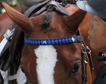 CUSTOM RIBBON BROWBAND with Polo Finish and Grograin, Satin and/or Velvet Ribbon