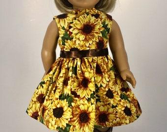"""Blue//Gold//White Sunflower Print Handsmocked Dress Fits 18/"""" American Girl Dolls"""