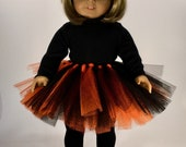 Halloween Doll Tutu American made to Fit 18 quot Girl Doll - Black and Orange