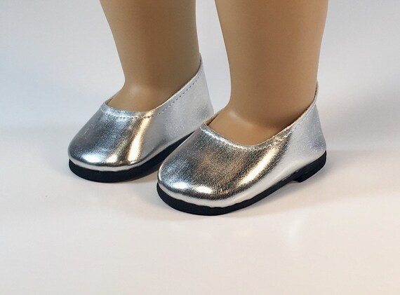 """Silver Slip on Shoes Fits 18/"""" American Girl  Dolls"""