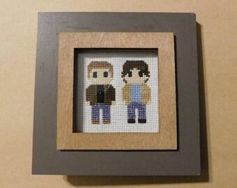 Supernatural Dean & Sam  Framed Cross Sitch