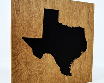 Texas Wall Decor - 8x8 Decorative TX Map Wood Box Sign - Texan Home State Pride Collection - Rustic Lone Star Gifts and Decorations