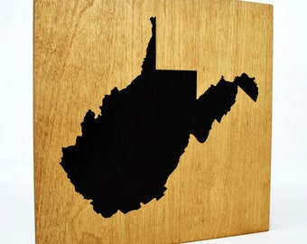 West Virginia Wall Decor - 8x8 Decorative WV Map Wood Box Sign - Home State Pride Collection - Rustic WVA Silhouette Gifts and Decorations
