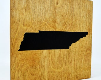 Tennessee Wall Decor - 8x8 Decorative TN Map Wood Box Sign - Home State Pride Collection - Rustic Volunteer State Gifts and Decorations